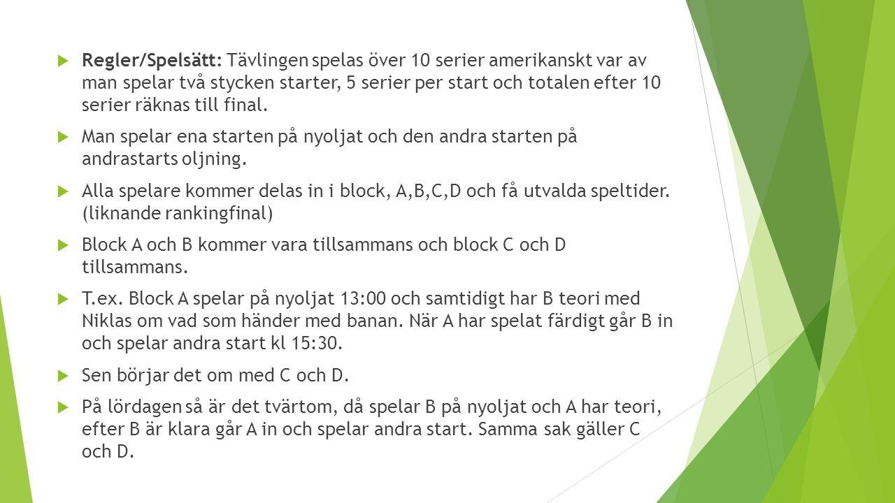  Regler/Spelsätt: Tävlingen spelas över 10 serier amerikanskt var av man spelar två stycken starter, 5 serier per start och totalen efter 10 serier räknas till final.