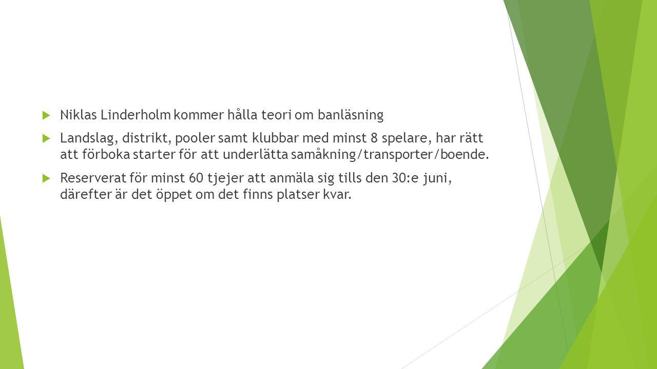  Niklas Linderholm kommer hålla teori om banläsning  Landslag, distrikt, pooler samt klubbar med minst 8 spelare, har rätt att förboka starter för att underlätta samåkning/transporter/boende.