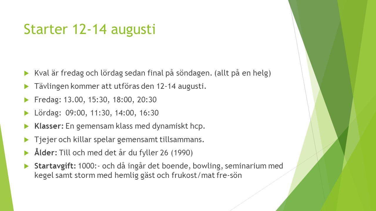 Starter 12-14 augusti  Kval är fredag och lördag sedan final på söndagen.