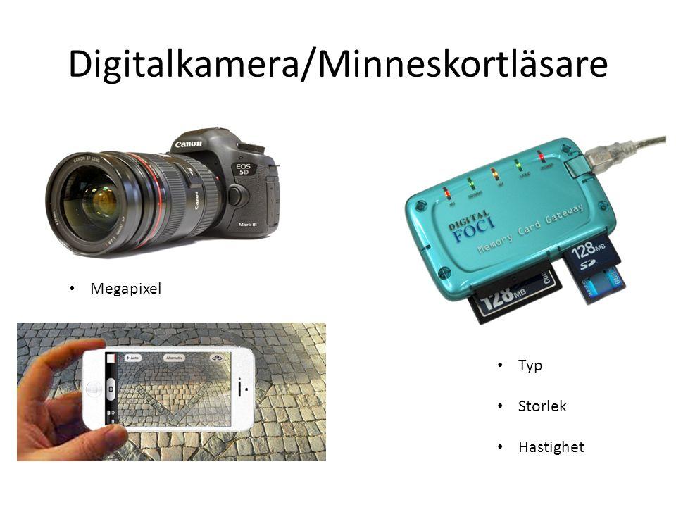 Digitalkamera/Minneskortläsare Typ Storlek Hastighet Megapixel