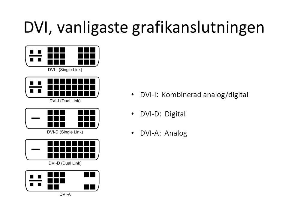 DVI, vanligaste grafikanslutningen DVI-I: Kombinerad analog/digital DVI-D: Digital DVI-A: Analog