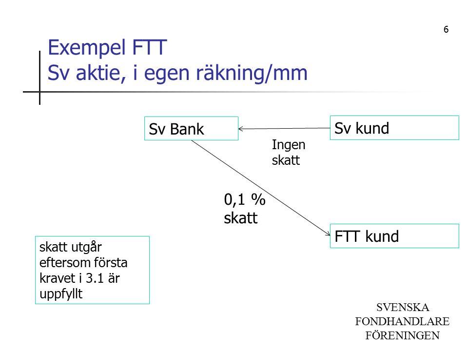 SVENSKA FONDHANDLARE FÖRENINGEN Exempel FTT Sv aktie, i egen räkning/mm Sv Bank Sv kund FTT kund skatt utgår eftersom första kravet i 3.1 är uppfyllt 0,1 % skatt Ingen skatt 6