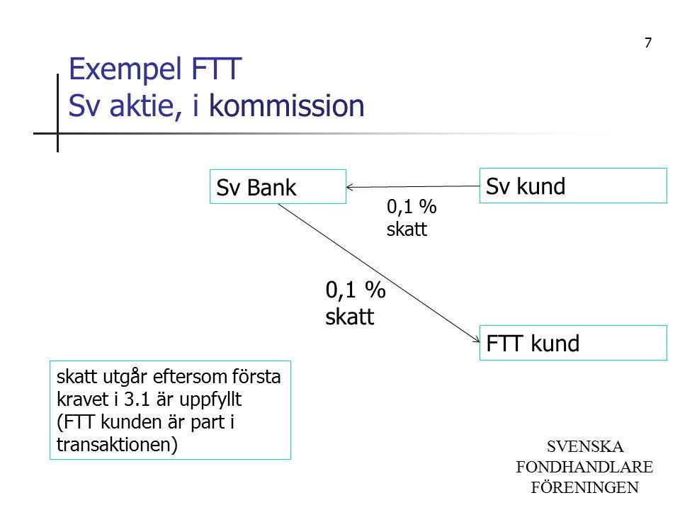 SVENSKA FONDHANDLARE FÖRENINGEN Exempel FTT Sv aktie, i kommission Sv Bank Sv kund FTT kund skatt utgår eftersom första kravet i 3.1 är uppfyllt (FTT kunden är part i transaktionen) 0,1 % skatt 7