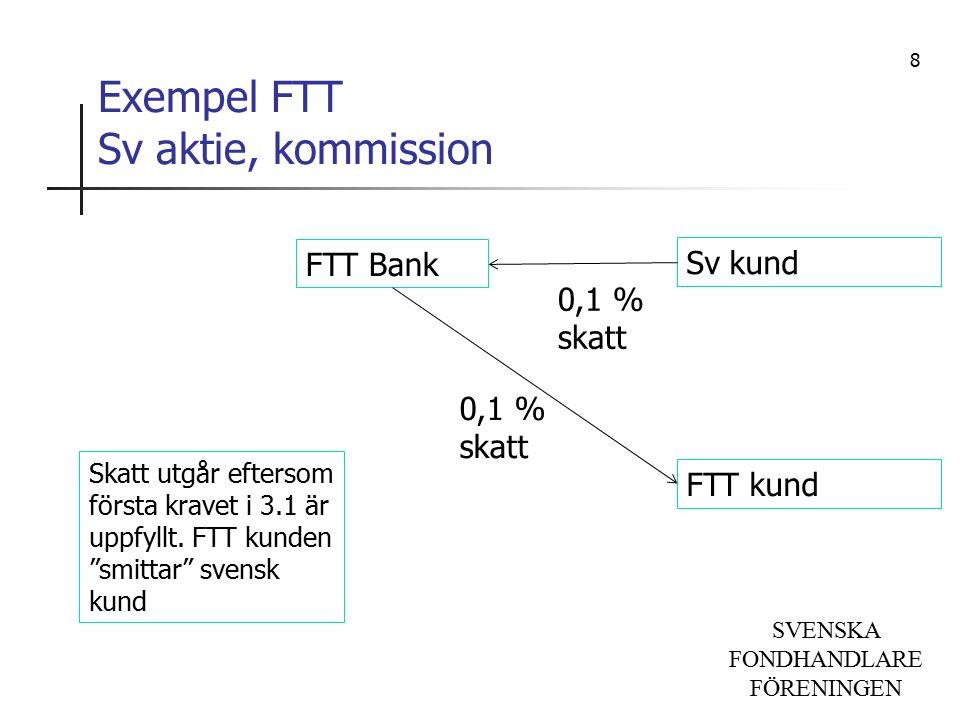 SVENSKA FONDHANDLARE FÖRENINGEN Exempel FTT Sv aktie, kommission FTT Bank Sv kund FTT kund Skatt utgår eftersom första kravet i 3.1 är uppfyllt.