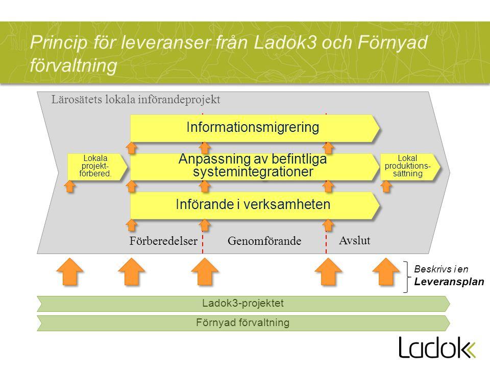Princip för leveranser från Ladok3 och Förnyad förvaltning Lärosätets lokala införandeprojekt Anpassning av befintliga systemintegrationer Informationsmigrering Införande i verksamheten FörberedelserGenomförande Avslut Ladok3-projektet Beskrivs i en Leveransplan Förnyad förvaltning Lokala projekt- förbered.