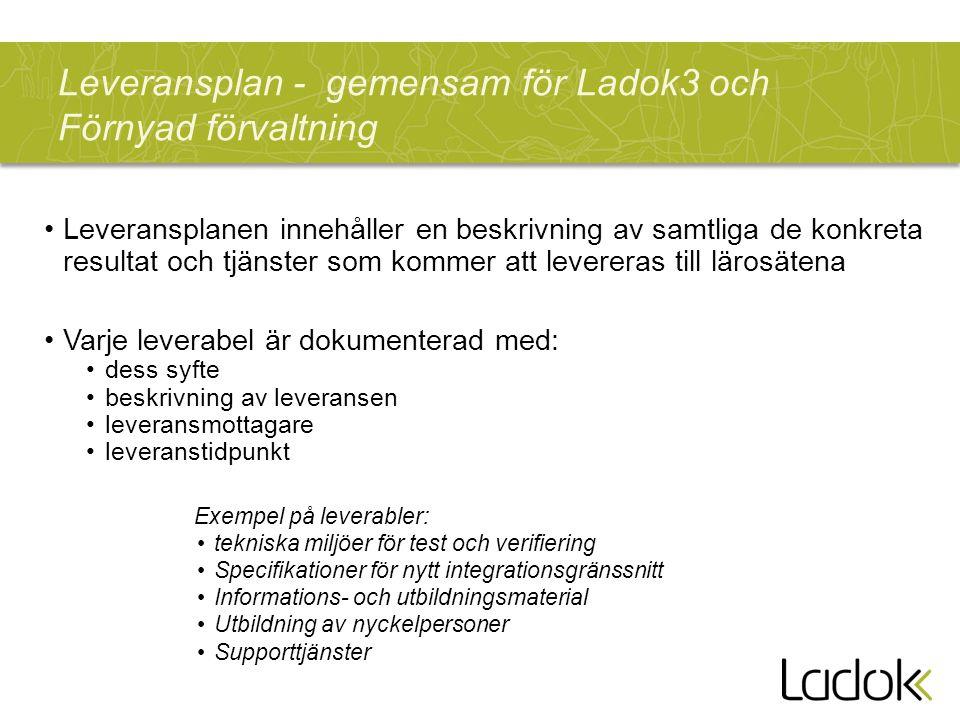 Leveransplan - gemensam för Ladok3 och Förnyad förvaltning Leveransplanen innehåller en beskrivning av samtliga de konkreta resultat och tjänster som kommer att levereras till lärosätena Varje leverabel är dokumenterad med: dess syfte beskrivning av leveransen leveransmottagare leveranstidpunkt Exempel på leverabler: tekniska miljöer för test och verifiering Specifikationer för nytt integrationsgränssnitt Informations- och utbildningsmaterial Utbildning av nyckelpersoner Supporttjänster