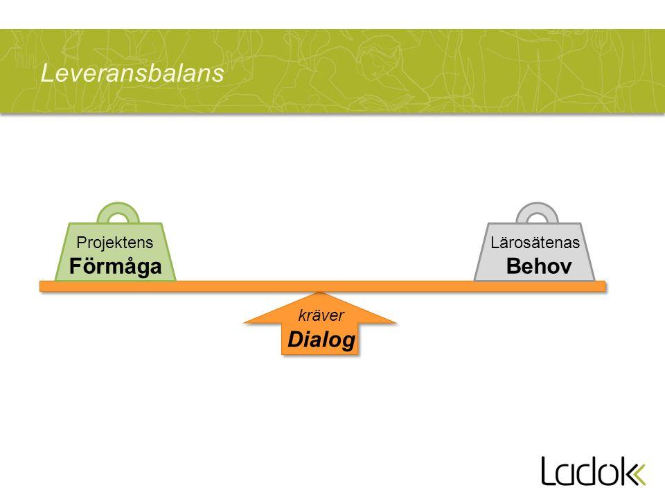 Leveransbalans Lärosätenas Behov Projektens Förmåga kräver Dialog
