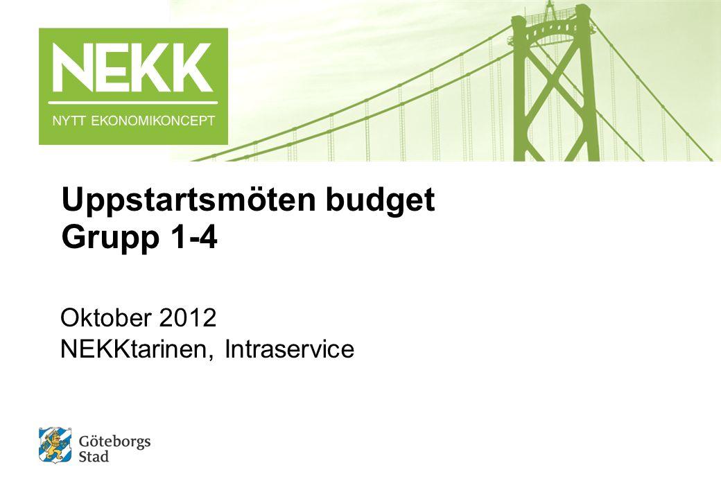 Uppstartsmöten budget Grupp 1-4 Oktober 2012 NEKKtarinen, Intraservice
