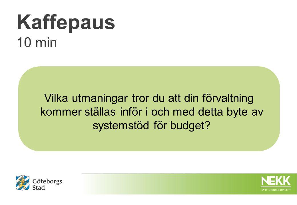 Kaffepaus 10 min Vilka utmaningar tror du att din förvaltning kommer ställas inför i och med detta byte av systemstöd för budget