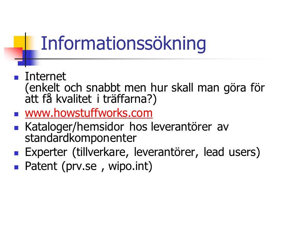 Informationssökning Internet (enkelt och snabbt men hur skall man göra för att få kvalitet i träffarna ) www.howstuffworks.com Kataloger/hemsidor hos leverantörer av standardkomponenter Experter (tillverkare, leverantörer, lead users) Patent (prv.se, wipo.int)