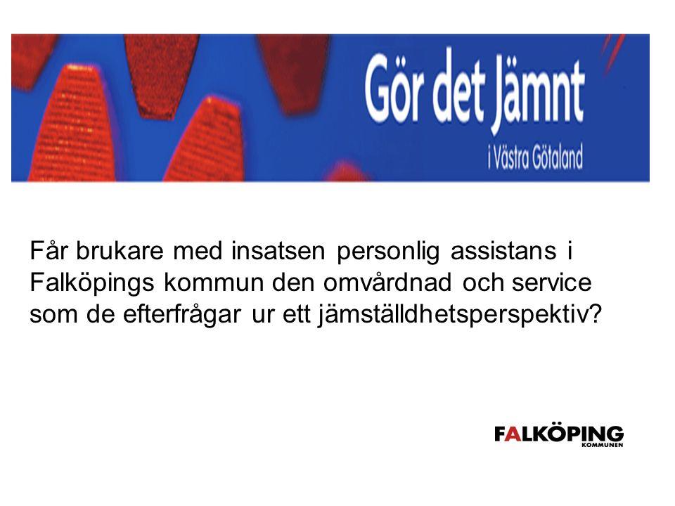 Handlingsplan Projektets huvudmål: Får brukare med insatsen personlig assistans i Falköpings kommun den omvårdnad och service som de efterfrågar ur ett jämställdhetsperspektiv