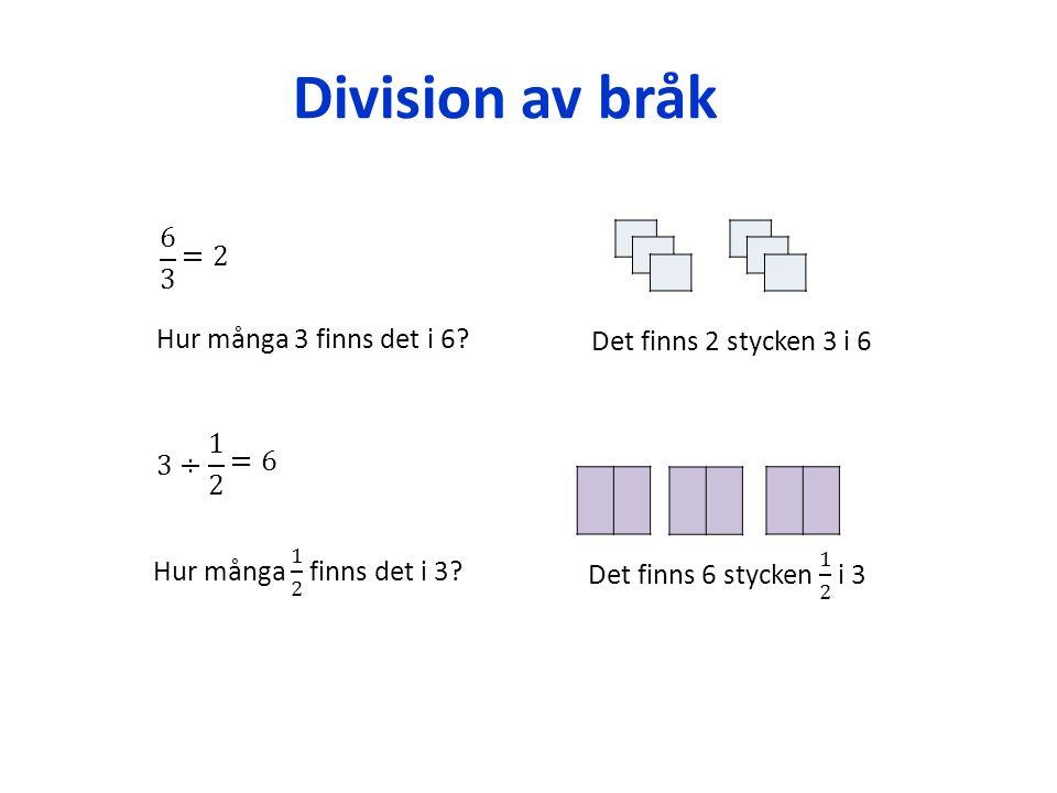 Division av bråk Hur många 3 finns det i 6? Det finns 2 stycken 3 i 6