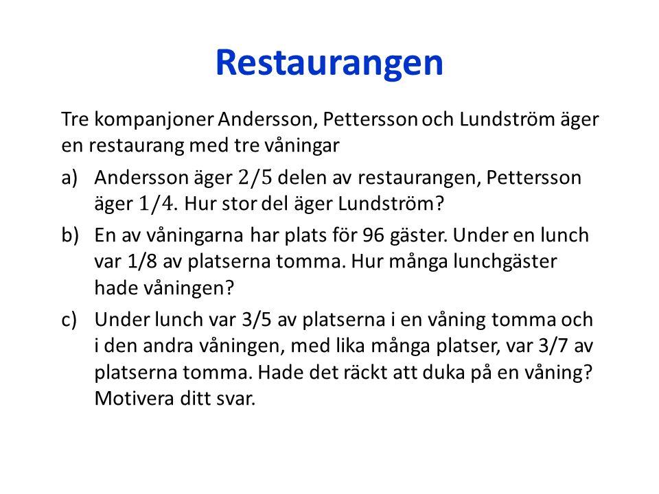Lösning har Andersson och Pettersson tillsammans har Lundström hade våningen av platser var tomma på ena våningen Om vi räknar skillnaden mellan andelen tomma platser på ena våningen och andelen upptagna platser på andra våningen och får positiv resultat då det räcker antal platser på första våningen för alla lunchgäster av platser var upptagna på andra våningen Svar: det hade räckt att duka på en våning