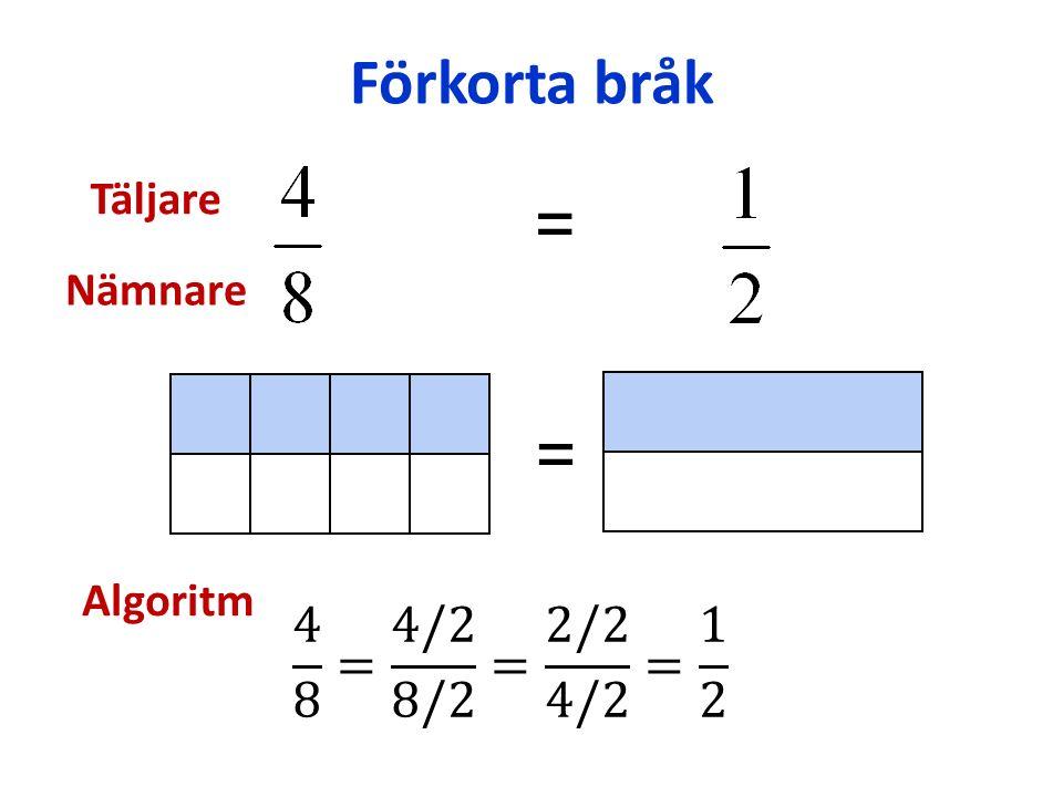 Förkorta bråk = = Algoritm Täljare Nämnare