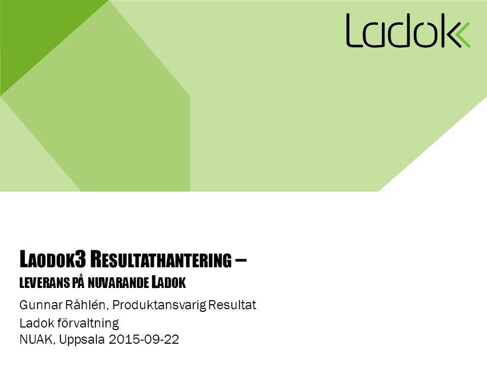 L AODOK 3 R ESULTATHANTERING – LEVERANS PÅ NUVARANDE L ADOK Gunnar Råhlén, Produktansvarig Resultat Ladok förvaltning NUAK, Uppsala 2015-09-22