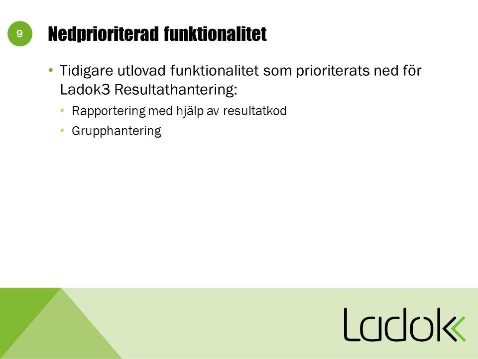 9 Nedprioriterad funktionalitet Tidigare utlovad funktionalitet som prioriterats ned för Ladok3 Resultathantering: Rapportering med hjälp av resultatkod Grupphantering