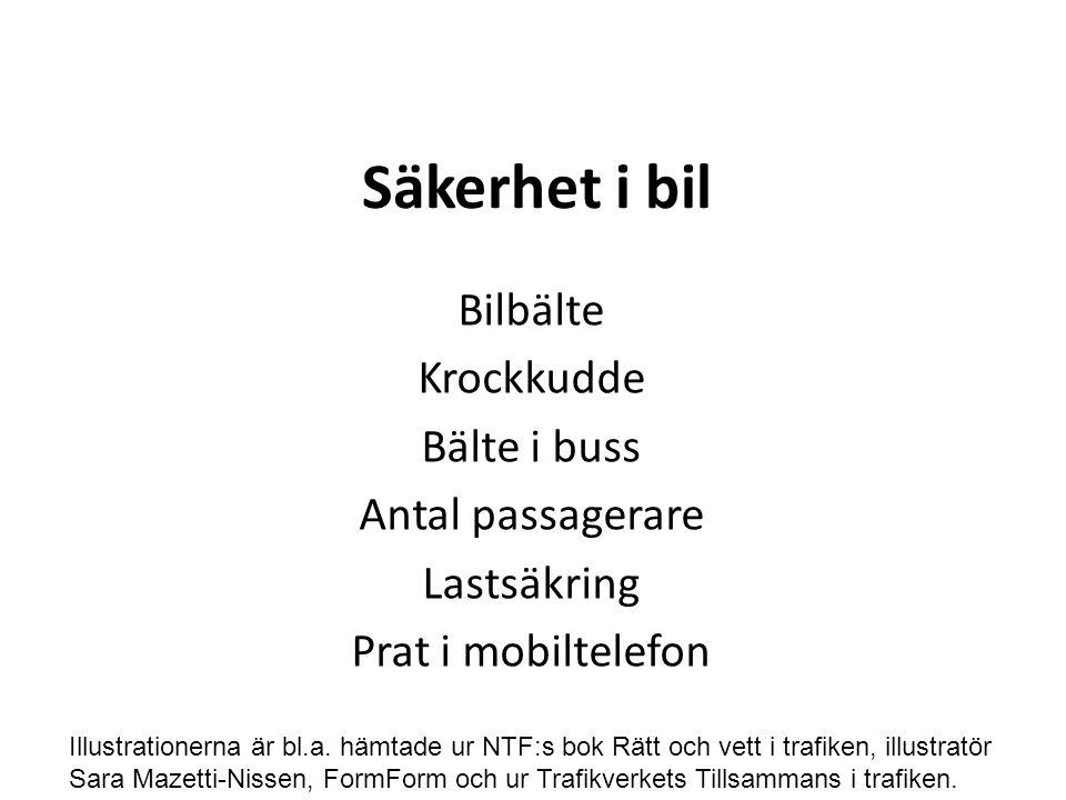 Säkerhet i bil Bilbälte Krockkudde Bälte i buss Antal passagerare Lastsäkring Prat i mobiltelefon Illustrationerna är bl.a.