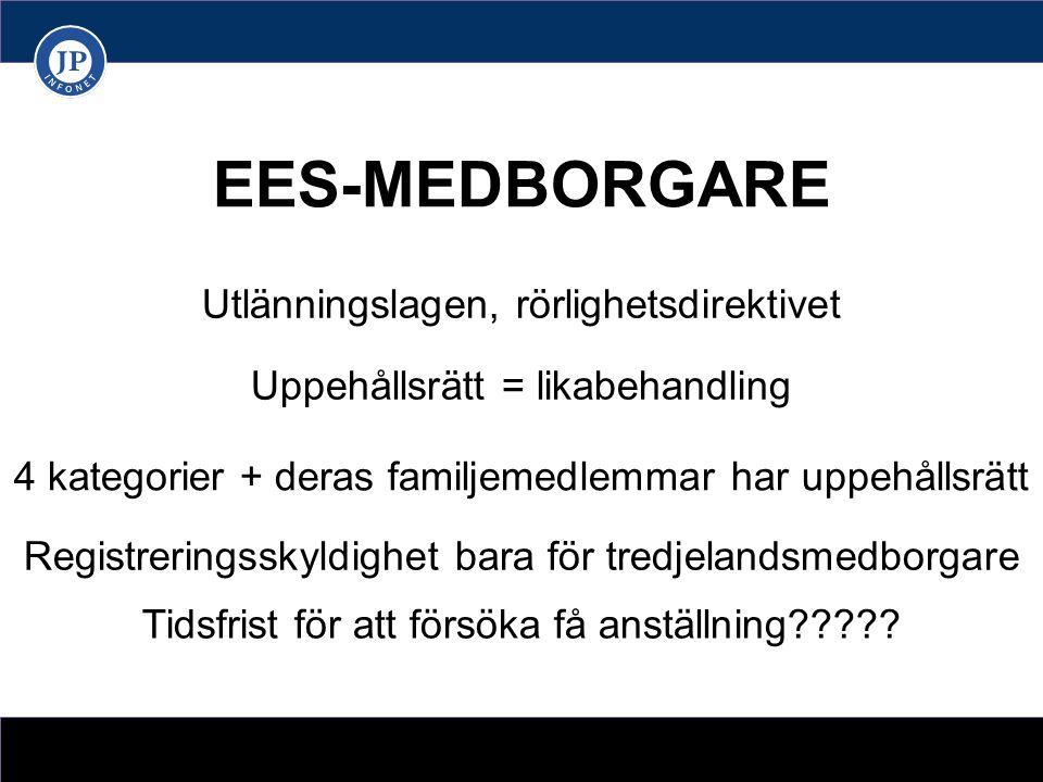 EES-MEDBORGARE Utlänningslagen, rörlighetsdirektivet Uppehållsrätt = likabehandling 4 kategorier + deras familjemedlemmar har uppehållsrätt Registreringsskyldighet bara för tredjelandsmedborgare Tidsfrist för att försöka få anställning