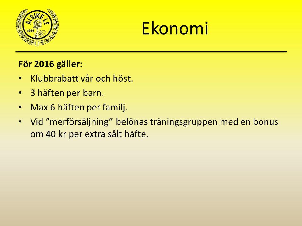 Ekonomi För 2016 gäller: Klubbrabatt vår och höst.
