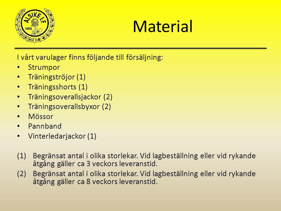 Material I vårt varulager finns följande till försäljning: Strumpor Träningströjor (1) Träningsshorts (1) Träningsoverallsjackor (2) Träningsoverallsbyxor (2) Mössor Pannband Vinterledarjackor (1) (1)Begränsat antal i olika storlekar.