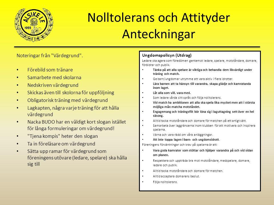 Nolltolerans och Attityder Anteckningar Noteringar från Värdegrund .