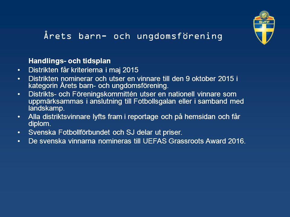 Årets barn- och ungdomsförening Handlings- och tidsplan Distrikten får kriterierna i maj 2015 Distrikten nominerar och utser en vinnare till den 9 oktober 2015 i kategorin Årets barn- och ungdomsförening.