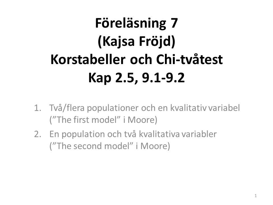 Föreläsning 7 (Kajsa Fröjd) Korstabeller och Chi-tvåtest Kap 2.5, 9.1-9.2 1.Två/flera populationer och en kvalitativ variabel ( The first model i Moore) 2.En population och två kvalitativa variabler ( The second model i Moore) 1