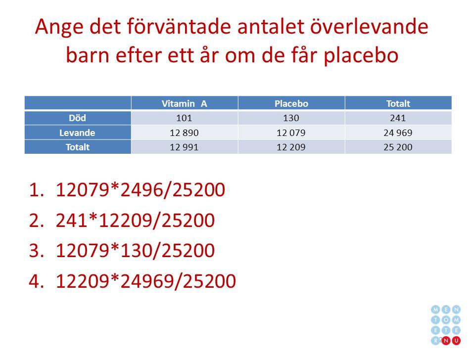 Ange det förväntade antalet överlevande barn efter ett år om de får placebo 1.12079*2496/25200 2.241*12209/25200 3.12079*130/25200 4.12209*24969/25200