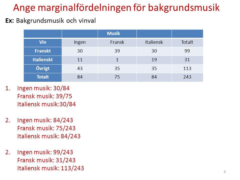 Ange marginalfördelningen för bakgrundsmusik Ex: Bakgrundsmusik och vinval 1.Ingen musik: 30/84 Fransk musik: 39/75 Italiensk musik:30/84 2.Ingen musi