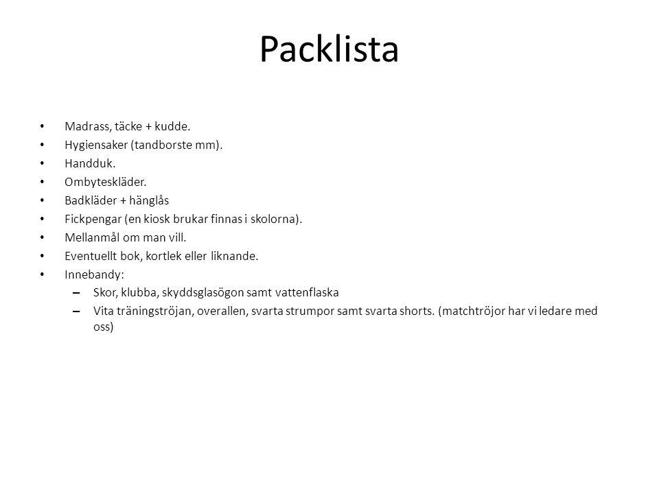 Packlista Madrass, täcke + kudde. Hygiensaker (tandborste mm).