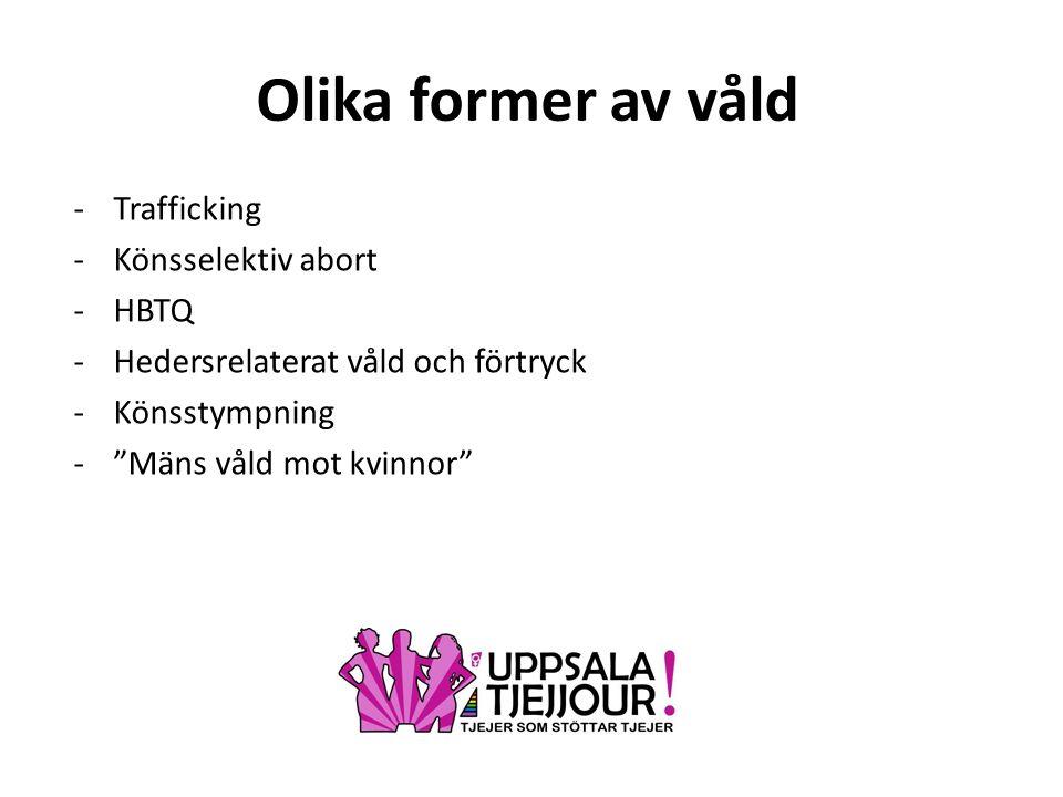 Olika former av våld -Trafficking -Könsselektiv abort -HBTQ -Hedersrelaterat våld och förtryck -Könsstympning - Mäns våld mot kvinnor
