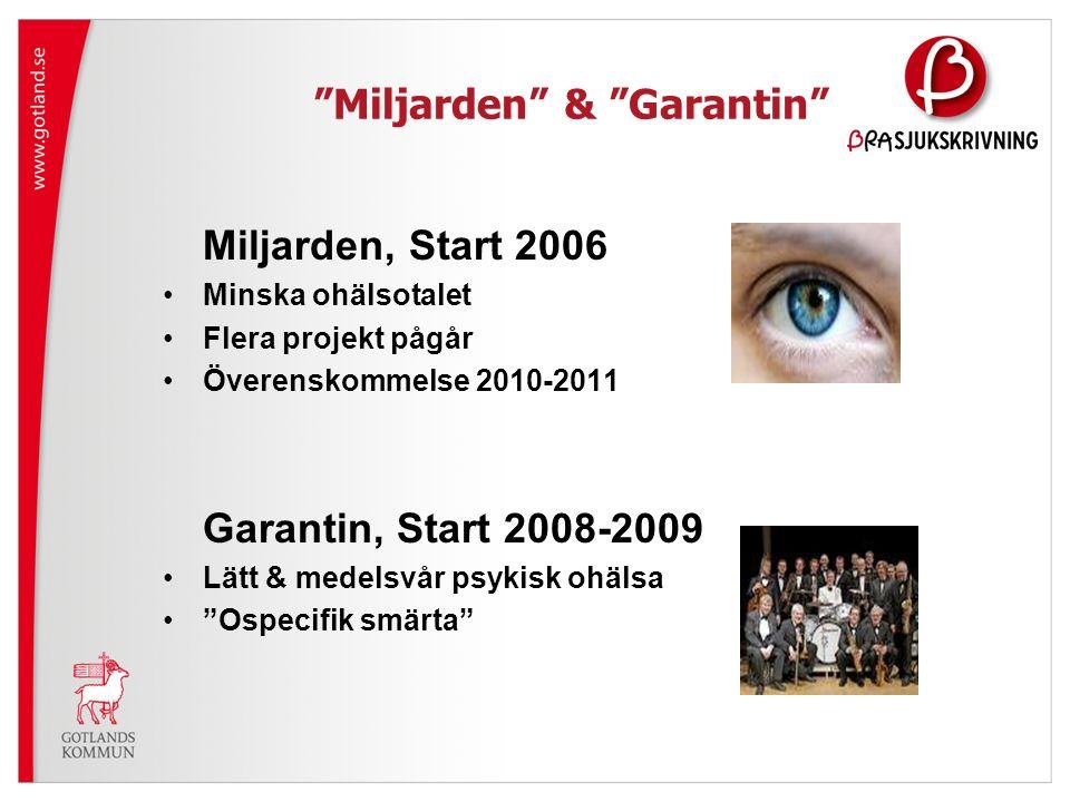 Miljarden & Garantin Miljarden, Start 2006 Minska ohälsotalet Flera projekt pågår Överenskommelse 2010-2011 Garantin, Start 2008-2009 Lätt & medelsvår psykisk ohälsa Ospecifik smärta