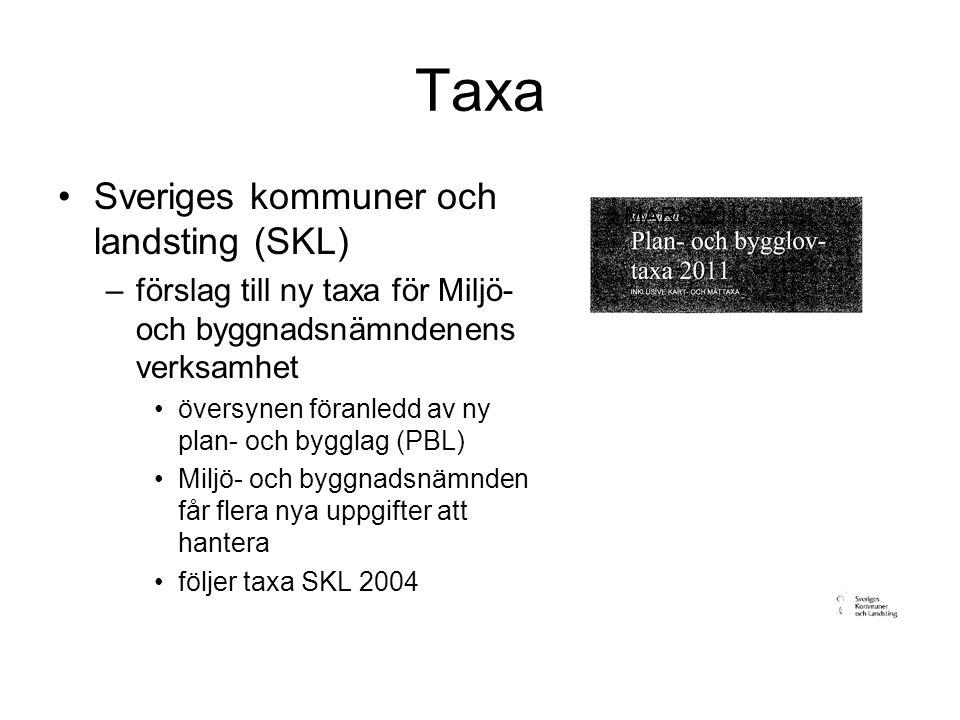 Taxa Sveriges kommuner och landsting (SKL) –förslag till ny taxa för Miljö- och byggnadsnämndenens verksamhet översynen föranledd av ny plan- och bygglag (PBL) Miljö- och byggnadsnämnden får flera nya uppgifter att hantera följer taxa SKL 2004 MARS 2011