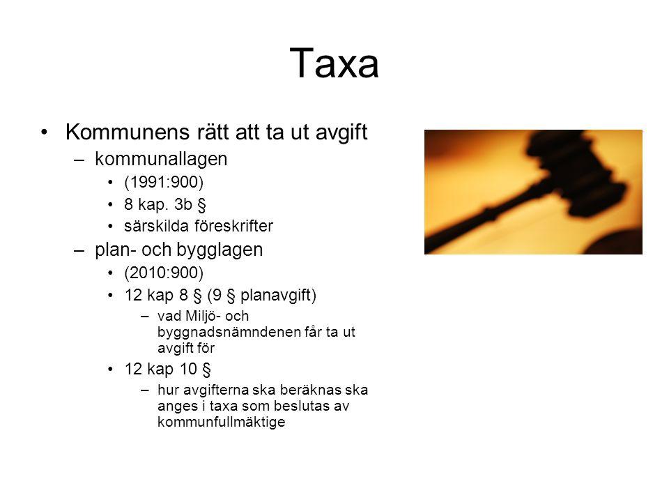 Taxa Kommunens rätt att ta ut avgift –kommunallagen (1991:900) 8 kap. 3b § särskilda föreskrifter –plan- och bygglagen (2010:900) 12 kap 8 § (9 § plan