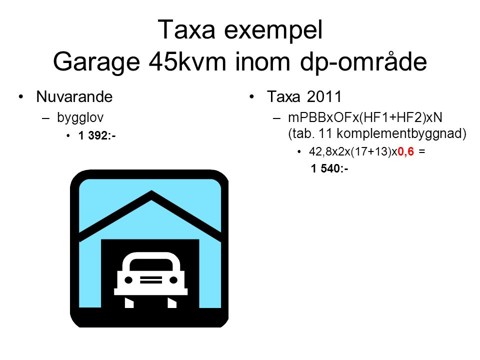 Taxa exempel Garage 45kvm inom dp-område Nuvarande –bygglov 1 392:- Taxa 2011 –mPBBxOFx(HF1+HF2)xN (tab. 11 komplementbyggnad) 42,8x2x(17+13)x0,6 = 1
