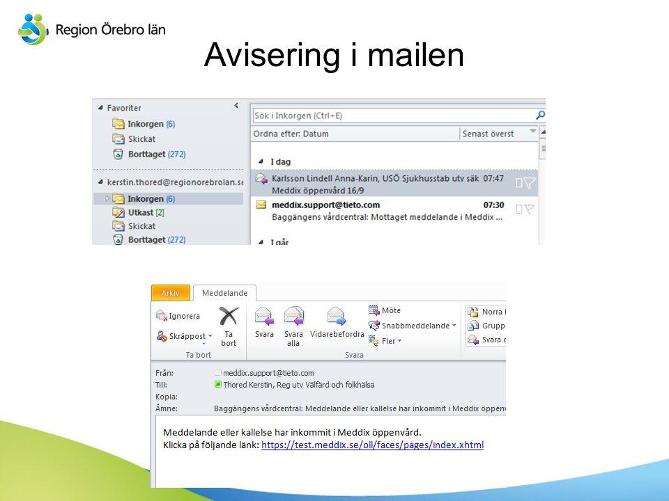 Avisering i mailen