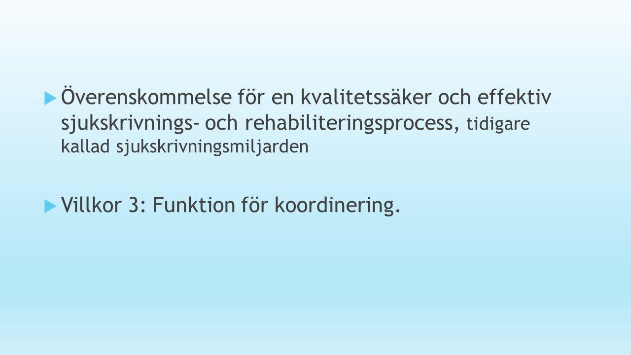  Överenskommelse för en kvalitetssäker och effektiv sjukskrivnings- och rehabiliteringsprocess, tidigare kallad sjukskrivningsmiljarden  Villkor 3: Funktion för koordinering.