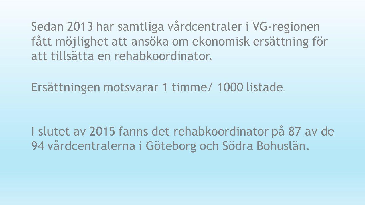 Sedan 2013 har samtliga vårdcentraler i VG-regionen fått möjlighet att ansöka om ekonomisk ersättning för att tillsätta en rehabkoordinator. Ersättnin