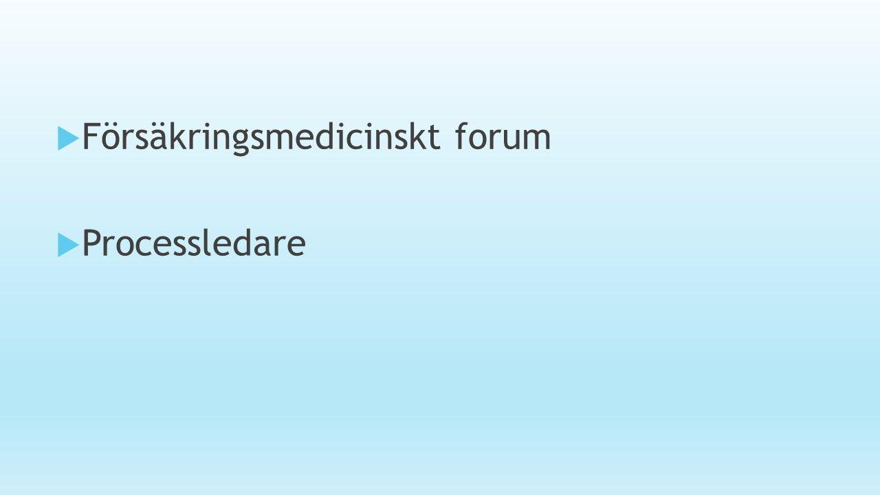  Försäkringsmedicinskt forum  Processledare
