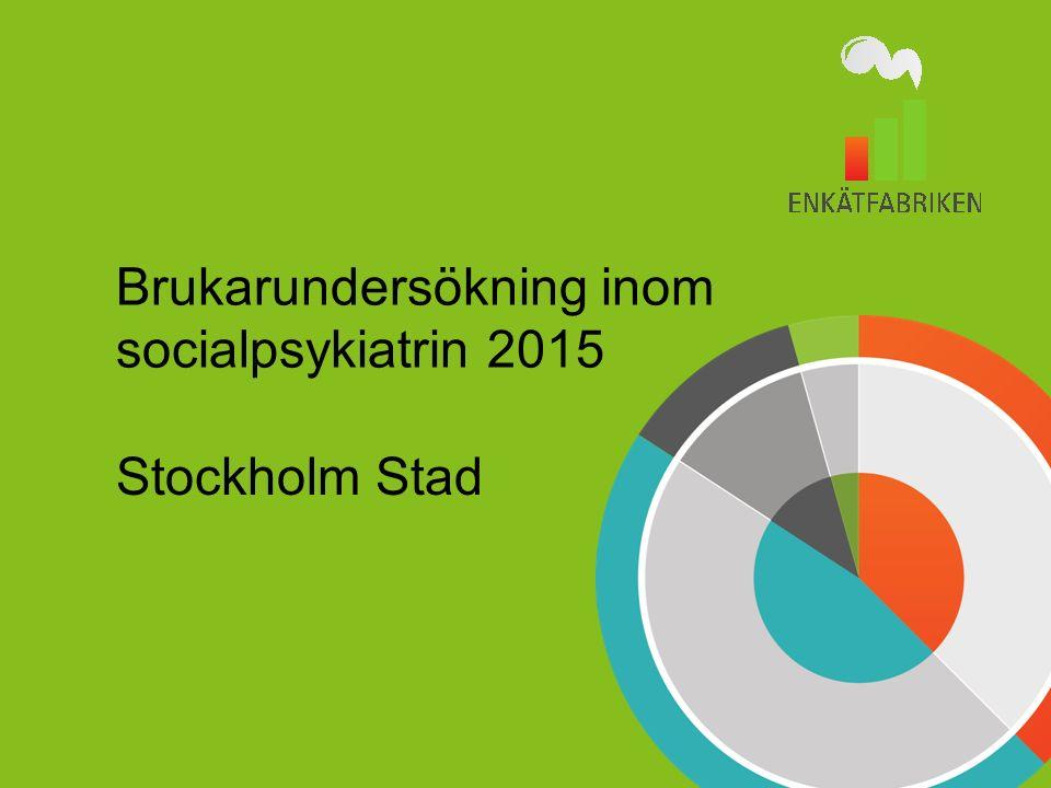 Enkätfabriken undersökningar 2 Stockholm stad Brukarundersökning inom socialpsykiatrin 2015 Boendestöd Farsta