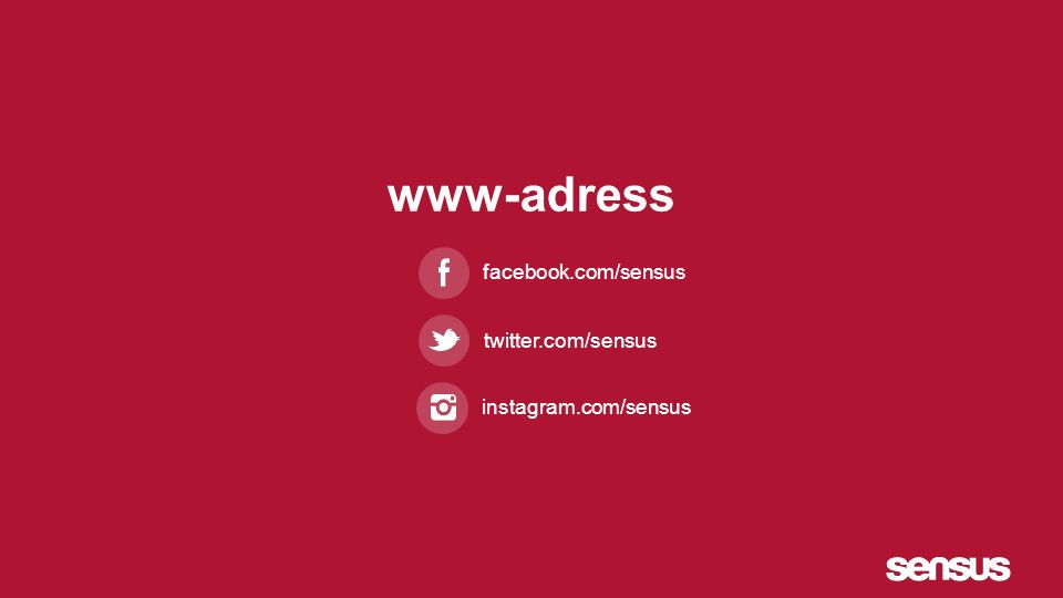 www-adress facebook.com/sensus twitter.com/sensus instagram.com/sensus