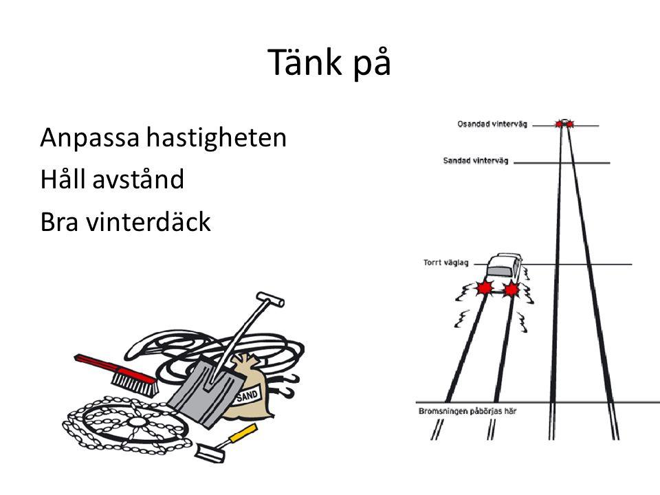 Tänk på Anpassa hastigheten Håll avstånd Bra vinterdäck