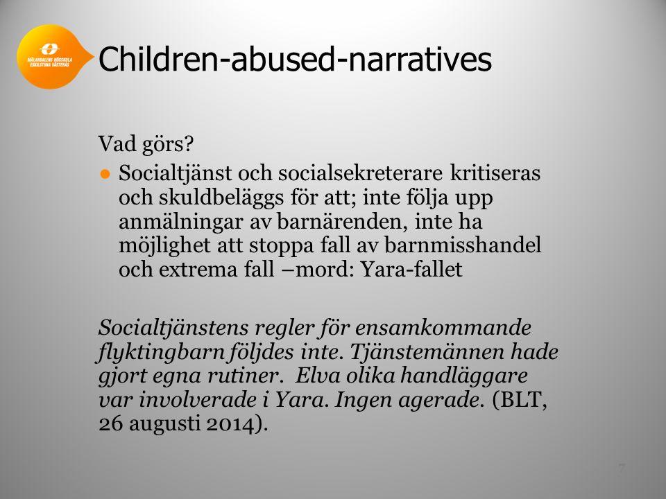 Children-abused-narratives (fort.) Hur framställs professionen/socialtjänsten.
