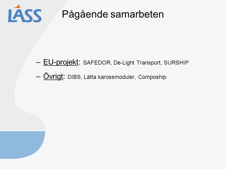 Pågående samarbeten –EU-projekt: SAFEDOR, De-Light Transport, SURSHIP –Övrigt: DIBS, Lätta karossmoduler, Compoship