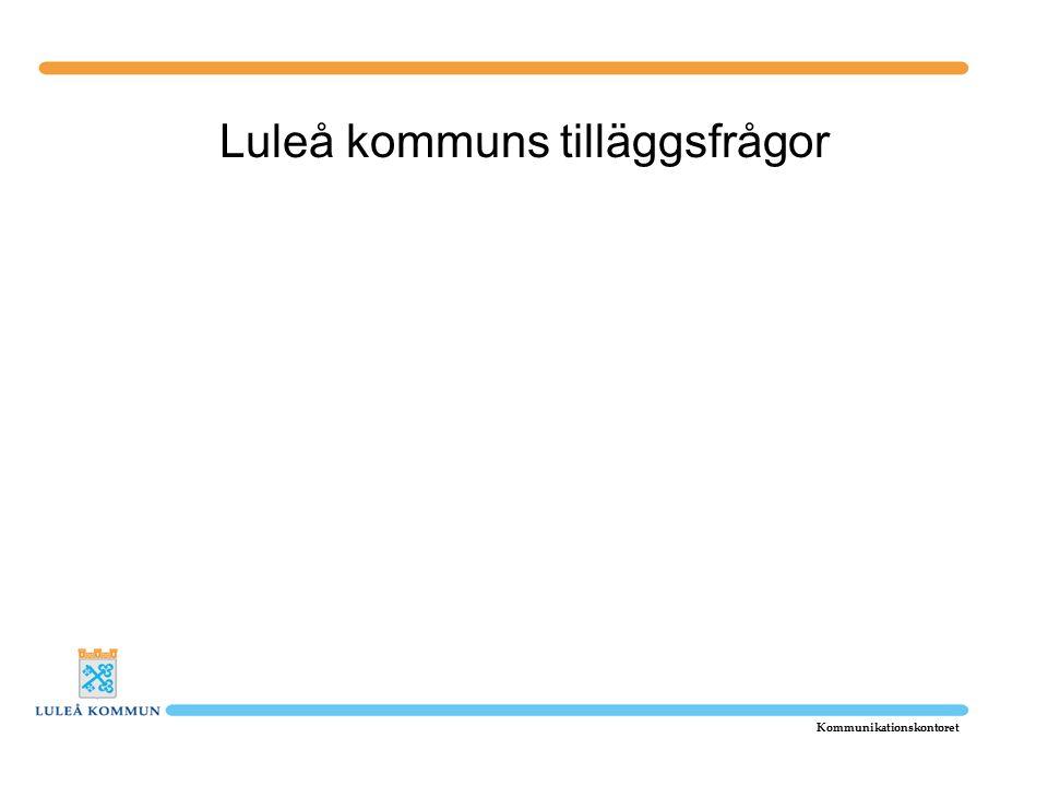 Luleå kommuns tilläggsfrågor Kommunikationskontoret