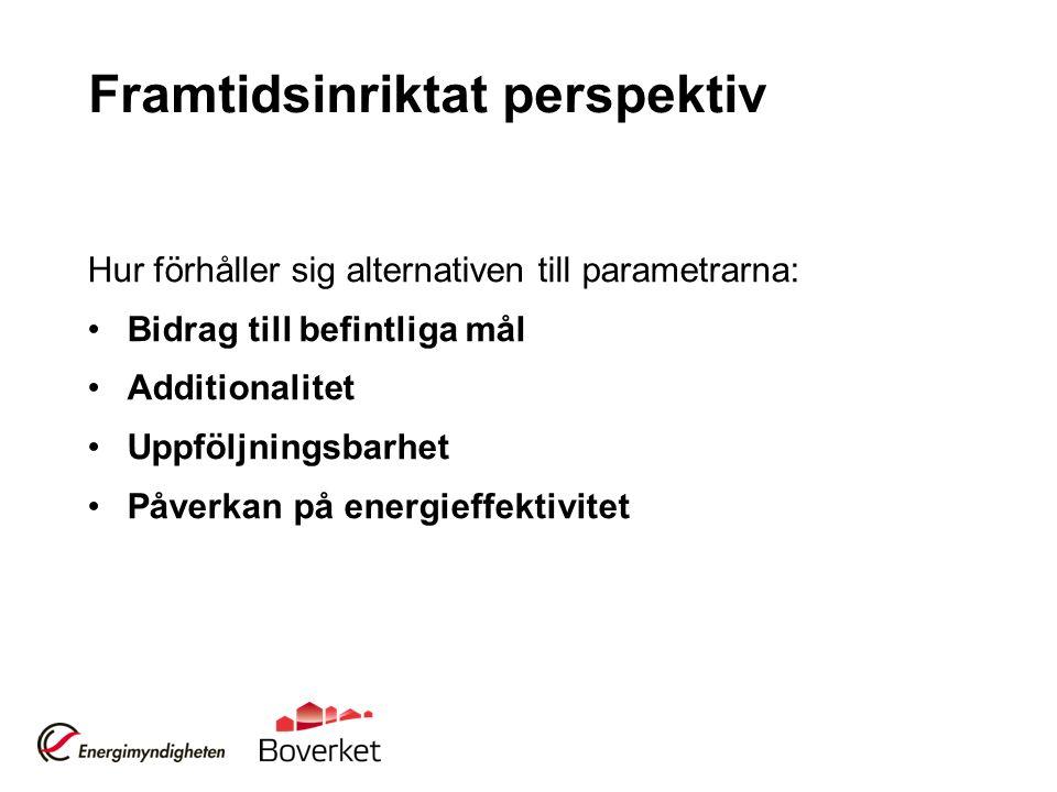 Framtidsinriktat perspektiv Hur förhåller sig alternativen till parametrarna: Bidrag till befintliga mål Additionalitet Uppföljningsbarhet Påverkan på energieffektivitet