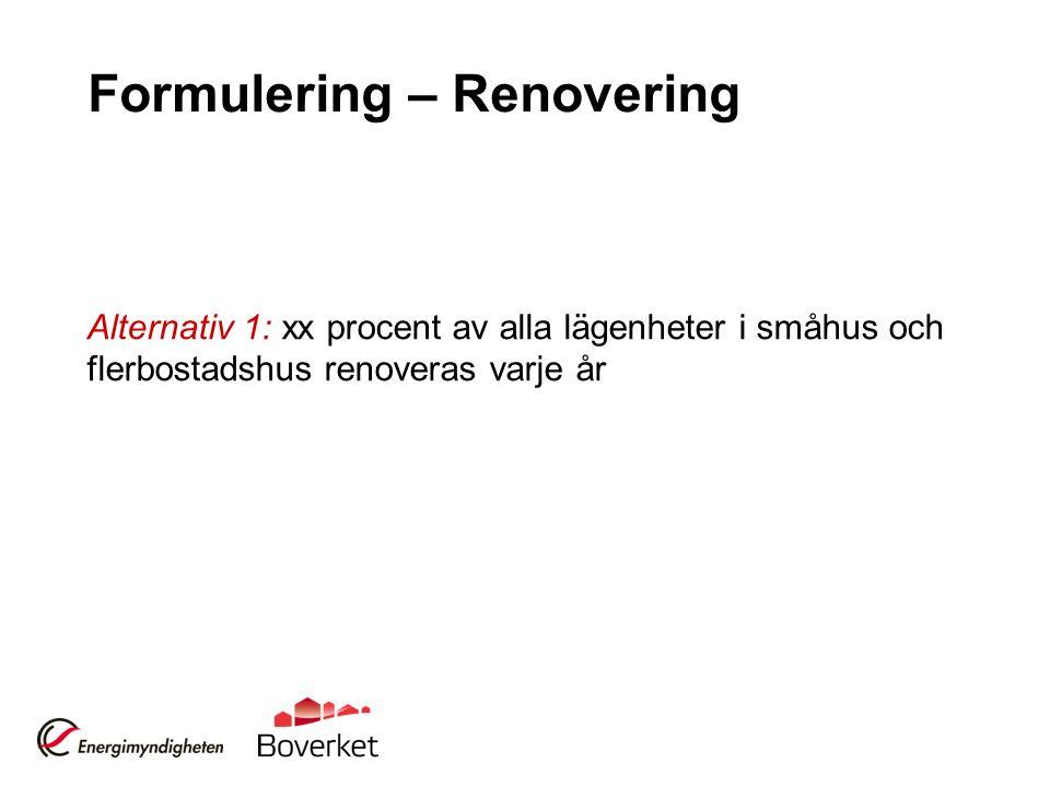 Formulering – Renovering Alternativ 1: xx procent av alla lägenheter i småhus och flerbostadshus renoveras varje år