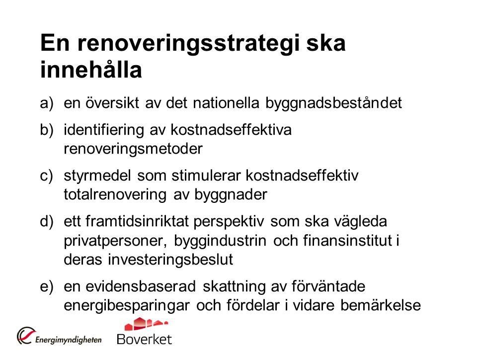 En renoveringsstrategi ska innehålla a)en översikt av det nationella byggnadsbeståndet b)identifiering av kostnadseffektiva renoveringsmetoder c)styrm