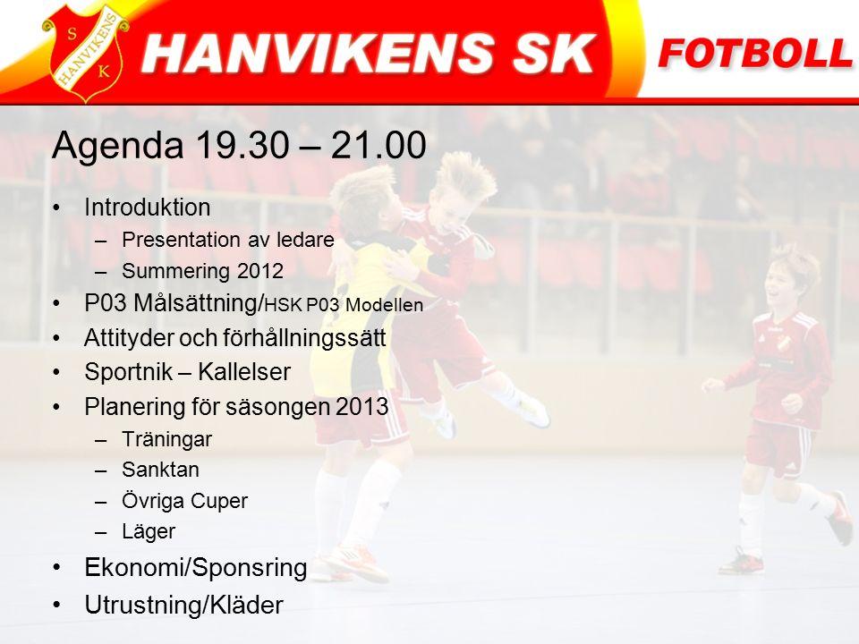 Agenda 19.30 – 21.00 Introduktion –Presentation av ledare –Summering 2012 P03 Målsättning/ HSK P03 Modellen Attityder och förhållningssätt Sportnik –