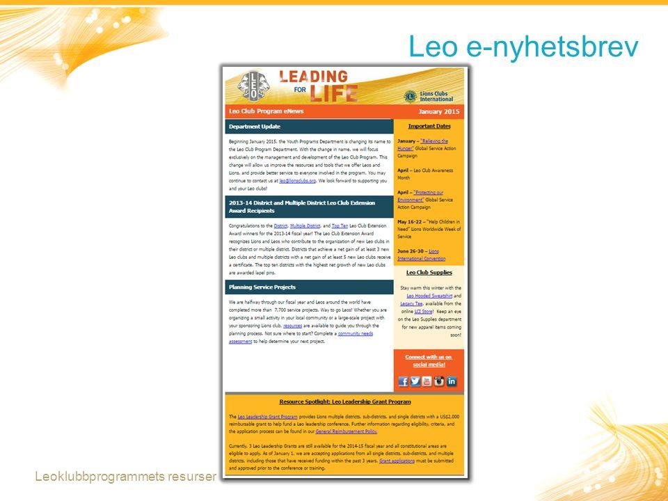 Leo e-nyhetsbrev Leoklubbprogrammets resurser